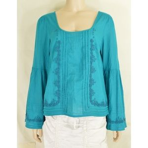 Free People top SZ S turquoise teal beaded long be